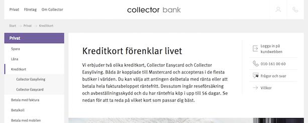 Collector kreditkort - kreditkungen.se